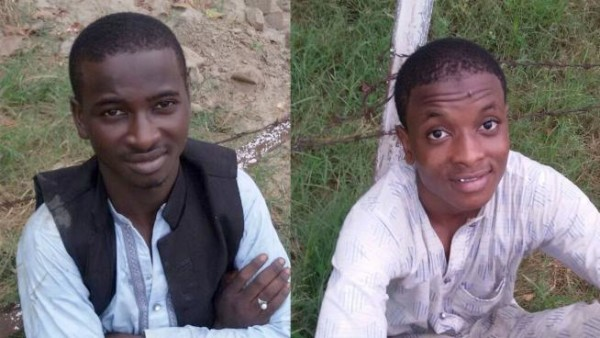 Attari: Nigerian nationals Sani Jamiliu (R) and Imran Kabeer (L) who were apprehended by BSF after they were spotted close to Indo-Pak border fence in Attari, on Aug 7, 2015. (Photo: IANS)