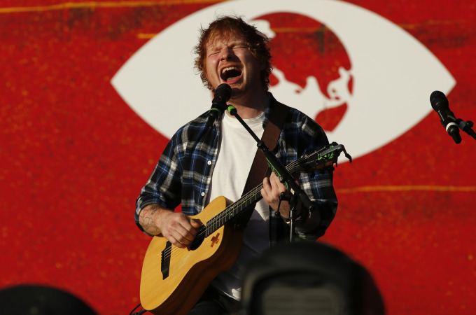 Ed Sheeran performs at the fourth annual Global Citizen Festival in Central Park Manhattan on September 26, 2015 in New York. The Festival is part of the Global Poverty Project, a UN-backed campaign to end extreme poverty by 2030. Headliners include Beyonce, Pearl Jam, Coldplay and Ed Sheeran.   AFP PHOTO/KENA BETANCURKENA BETANCUR/AFP/Getty Images