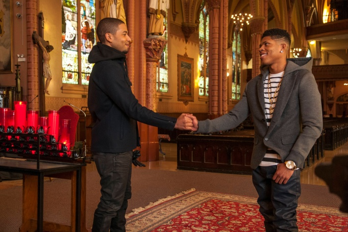 "EMPIRE: Jamal (Jussie Smollett, L) and Hakeem (Bryshere Gray, R) share a moment in the ""The Lyon's Roar"" episode of EMPIRE airing Wednesday, Feb. 25 (9:01-10:00 PM ET/PT) on FOX. ©2015 Fox Broadcasting Co CR: Matt Dinnerstein/FOX"