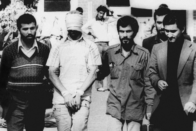 One of the American hostages was shown to a crowd outside the United States Embassy in Tehran in November 1979