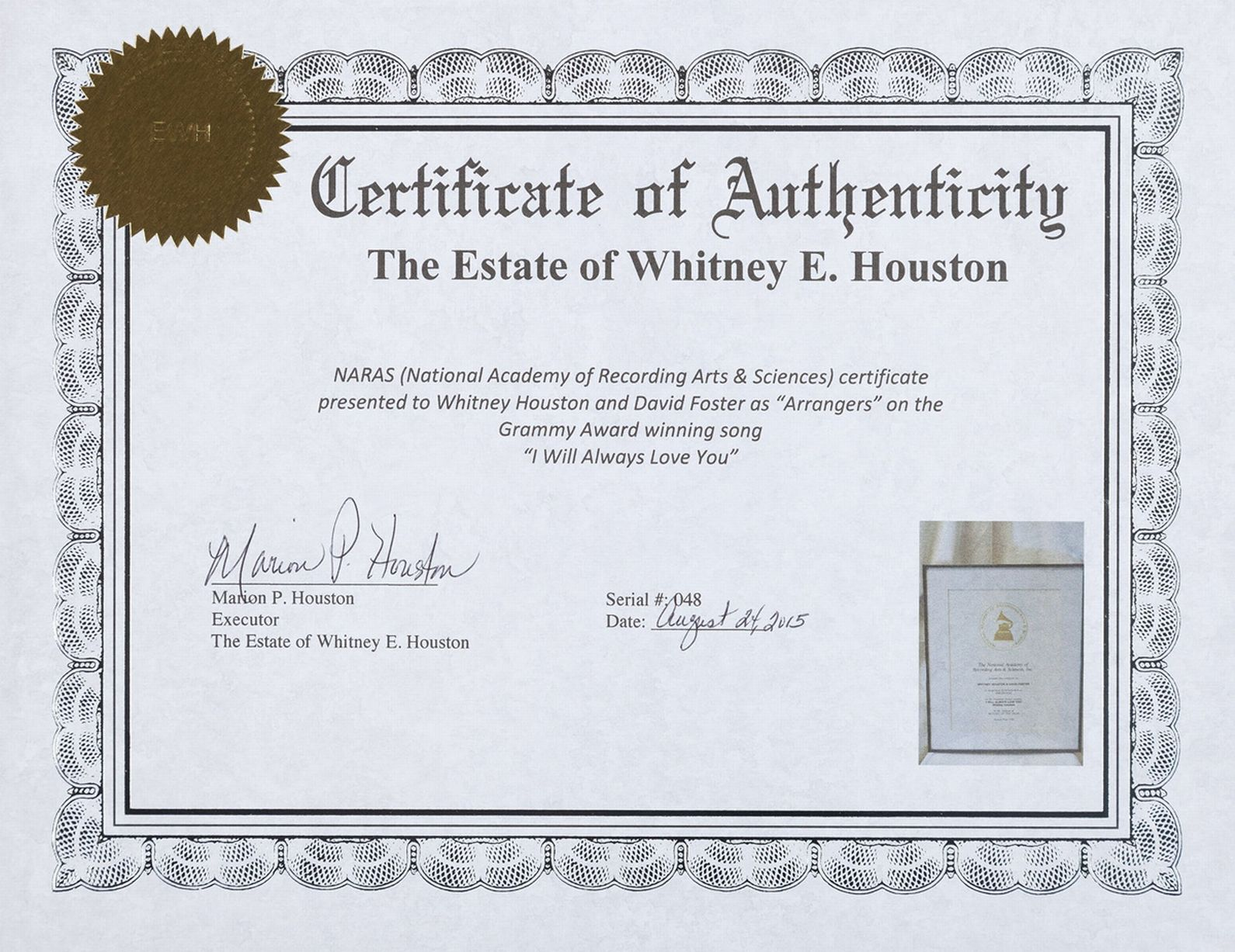 Awesome collection of birth certificate houston business cards birth certificate houston beautiful auction whitney houston s awards wedding dress and estate are up aiddatafo Gallery