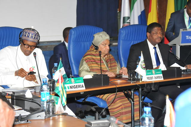 From left: President Muhammadu Buhari; ECOWAS Chairman / Liberian President, Ellen Johnson Sirleaf and Chairman ECOWAS Commission, Marcel de Souza at the 50th Ordinary Session of the EOWAS Authority of Heads of State and Government in Abuja on 18 December 2016