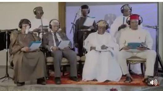 Osinbajo, Obasanjo, Alex Ekwueme, Ebitu Ukiwe, Oladipo Diya, Ernest Shonekan, Yakubu Gowon sing for a better Nigeria